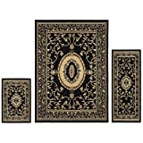 Superior Clementina Collection 3-Piece Rug Set, Attractive Rugs with Jute Backing, Durable and Beautiful Woven Structure, Elegant Medallion Area Rug Set - 2' x 3', 2' x 5', and 5' x 7' Rugs, Black