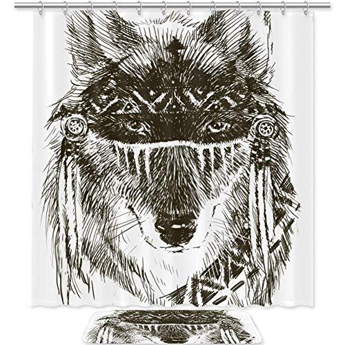 Bennigiry Wolf Indian Warrio Badezimmer-Set mit Duschvorhang und Teppichen und Zubehör, 177,8 x 182,9 cm, wasserdichte Polyester-Stoff-Duschvorhänge, Badematte mit 12 Haken