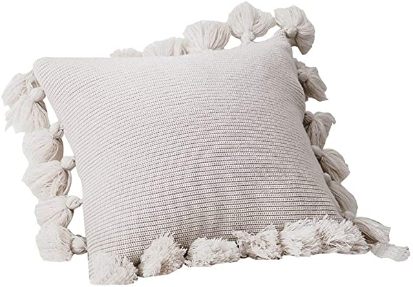 TEALP Pillow Covers Decorative Knitted Throw Pillows Covers 18x18 With Pom Pom Lantern Tassels