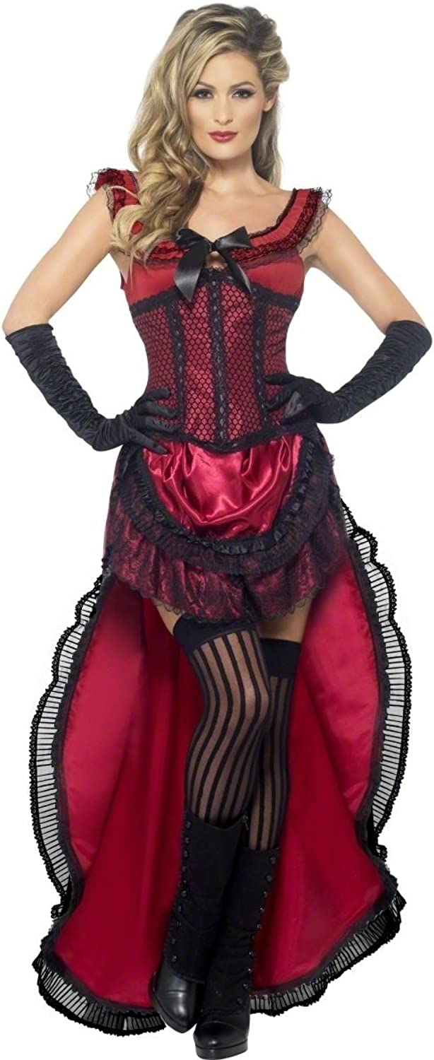 Ladies Red Saloon Girl Burlesque Bredhel Babe Wild West Can Can Hen Do Fancy Dress Costume Outfit UK 818 (UK 1618)