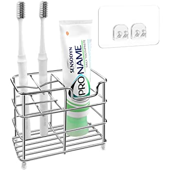 Bathroom Self Adhesive 5-Toothbrush Toothpaste Holder Wall Mount Rack Organizer