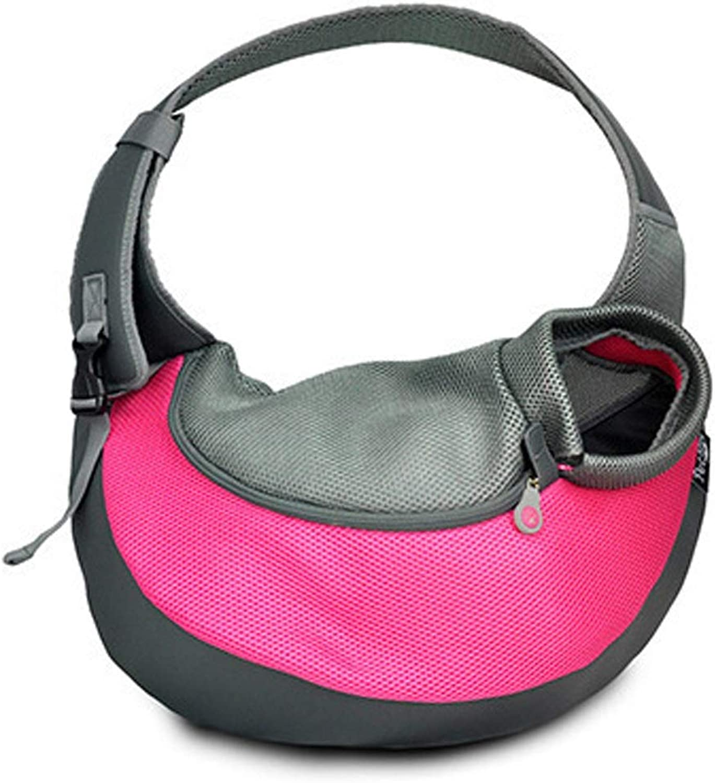 LSLMCS CrossBody Pet Outing Portable Cat Travel Bag Pet Mesh Breathable Cat Bag for Excursions (color   pink, Size   Large  40x8.5X high 14.5x13cm)