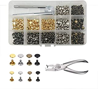 240 Sets 2 Sizes Leather Rivets Double Cap Rivet Tubular Metal Studs with 3 Fixing Set Tools for DIY Leather Craft Repairing Replacement Decoration Rivets 4 Colors