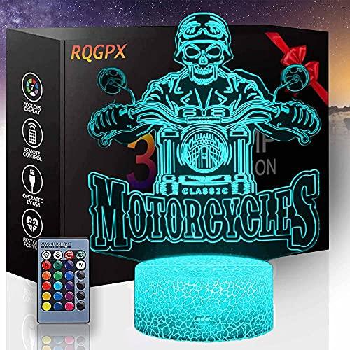 Motocicletas colorido 3D noche luz ilusión lámpara iluminación estado de ánimo multicolor luz blanca cálida cambio mesa escritorio regalo juguete