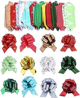 STOBOK Lazos de cinta de papel de regalo para regalos de navidad, cestas, decoración de bodas y envoltura de regalos de vacaciones, paquete de 12