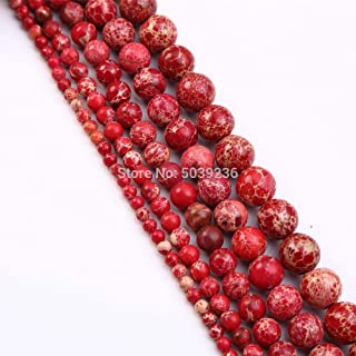 ZRBC Bulk Wholesale Turquoises Red Sea Sediment Jaspers Natural Stone Round Loose Spacer Beads for Jewelry Making 4-12mm (Color : Red Sea Sediment, Size : 8mm 45pcs beads)