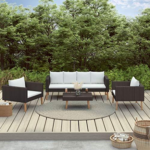 Rattan-Lounge-Set, 4-teilig mit Kissen, 1 x 2-Sitzer-Sofa + 2 x Sessel + 1 x Couchtisch + 4 x Sitzkissen + 6 x Rückenkissen