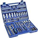 TecTake Caja de trinquete de 171 piezas kit tuercas herramientas bits y llaves de vaso (1/2, 3/8 y 1/4 pulgada)