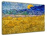 Grafic Quadro Van Gogh Paesaggio con covoni e Luna Che sorge - Vincent Van Gogh - Stampa su Tela Canvas con o Senza Telaio (Quadro con Telaio in Legno, CM 70X55)