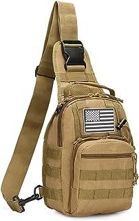 denlix Tactical Sling Bag Chest Pack EDC Molle Hiking Daypack USA Flag for Men Women Unisex