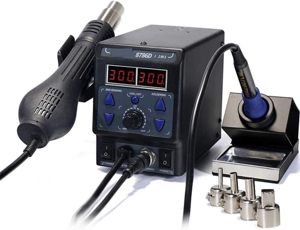 Estación 8786D I soldadura de aire caliente, 2 en 1 de actualización Estación de soldadura Estación de soldadura de la soldadura eléctrica del hierro, Display digital Termostato Pistola de aire calien
