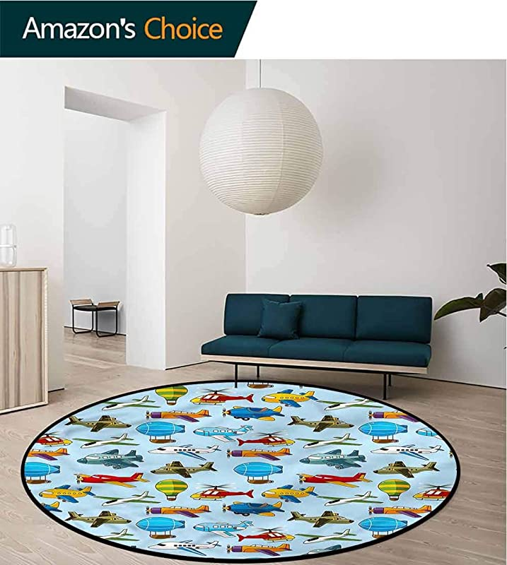 RUGSMAT Doodle Round Area Rug Carpet Cartoon Zeppelin Helicopter Door Mat Indoors Bathroom Mats Non Slip Diameter 24
