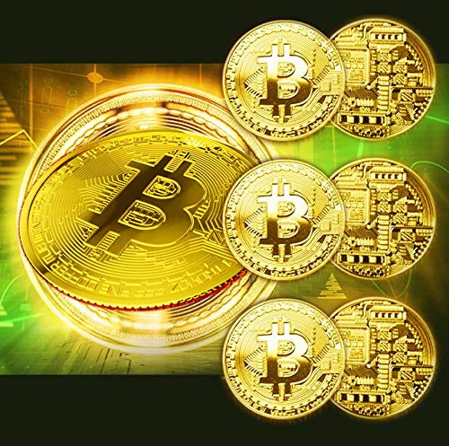 6 Pcs Gold Bitcoin Coins and 6 Cases Commemorative 2021 Blockchain Cryptocurrency Collectors Bitcoin Gold Plated Bitcoin with Protective Cases