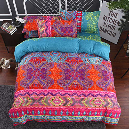 Double Bohemian Flower Duvet Cover for Adults,Moroccan Bohemian Bedding Set with 2 Pillowcases,Microfiber Mandala Duvet Cover 200cm x 200cm