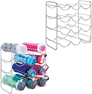 mDesign Metal Free-Standing Water Sports Bottle and Wine Rack Holder Stand for Storage Organizing in Kitchen Cabinet Countertops, Pantry - Each Holds 12 Bottles, 2 Pack - Chrome