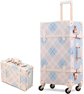 Unitravel Vintage Suitcase Set 26 inch Lightweight Spinner Trunk Luggage with 12 inch Train Case for Girls