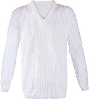 Islander Fashions Mens Lawn Bowling Long Sleeve V Neck Knitted Jumper Adults Ribbed Sweater S/5XL