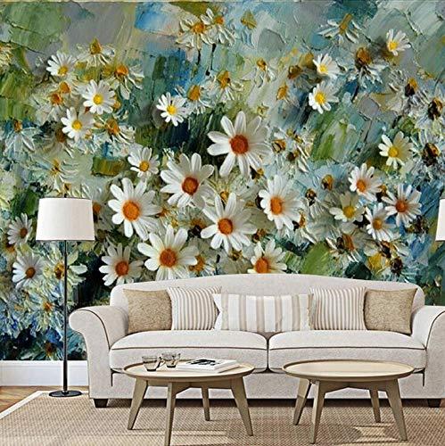 Euro-Amerikaanse Chrysant Stereo Olie Schilderen TV Achtergrond Muur Melk Thee Shop Vrije tijd Cafe Persoonlijke muurschildering Wallpaper 350×245cm