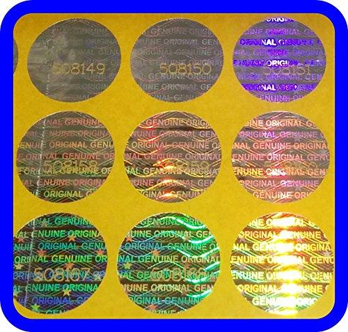 1053 Hologramm Etiketten mit Seriennummern, Garantie Siegel Aufkleber Rund 15mm