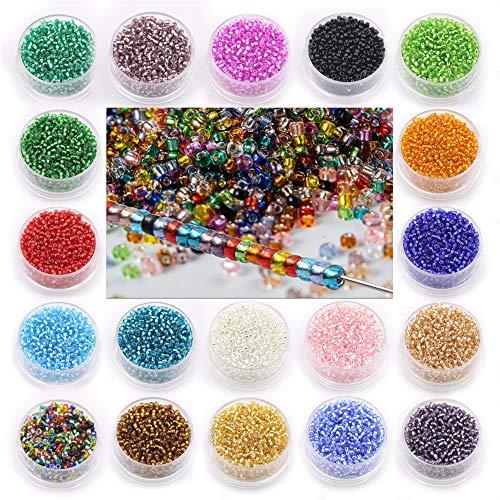 Alrededor de 20000pcs-2MM cuentas de semillas de vidrio, 19 cuentas de dispersión, juego de cuentas de pulsera, accesorios de joyería de bricolaje, cuentas de cristal de vidrio plateado