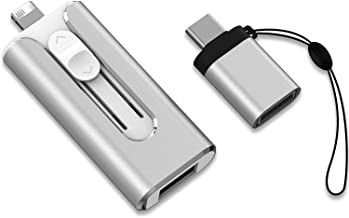KEXIN Flash Drive for iPhone Photo Stick 128GB Thumb Drive USB 3.0 Flash Drive 3 in 1 USB Memory Stick External Storage US...