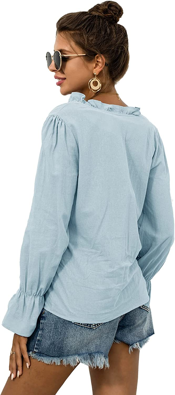 LYANER Women's Casual Button Front Ruffle Trim V Neck Long Sleeve Blouse Shirt Top