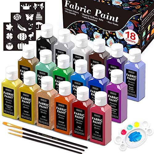Fabric Paint, Shuttle Art 18 Colors Permanent Soft Fabric Paint in Bottles (60ml/2oz) with Brushes, Palette, Stencils, Non-Toxic Textile Paint for T-shirts, Shoes, Jeans, Bags, DIY Projects&Art Crafts