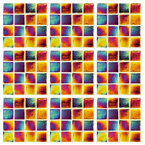 None/Brand LxwSin Mosaik Fliese Aufkleber, PVC Mosaic Wandfliesenaufkleber, 30 Stück Selbstklebende Farbmosaikfliesenaufkleber mit Marmorstein-Effekt-Transfersticks für die Badküche, wasserdicht