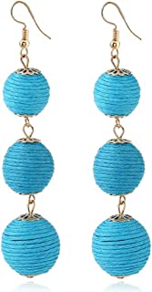 IDB Threaded Ball Dangle Hook Earrings - Large Bohemia Pom Pom Style Earrings - Approx 3 9/16 inch drop - Multiple Colors Available