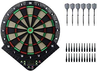 电子飞镖盘,飞镖盘游戏套装,带LCD计分显示屏的专业飞镖盘,18个游戏和159个变体6个软式飞镖,可容纳8个玩家