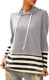 Women's Hoodies Stripe Printed Tops Long Sleeve Pullovers Drawstring Sweatshirt