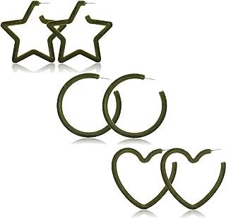 PHALIN Hoop Earrings for Women Statement Large Circle Earrings Set Exaggerated Geometric Round Star Heart Tube Hoop Dangle...
