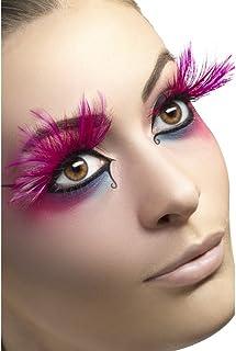 Smiffys Fever 24254 valse wimpers voor dames, met veren, lijm inbegrepen, één maat, roze