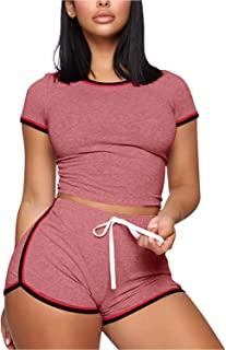 Womens 2 Piece Sports Outfit Tie Up Tracksuit Shirt Shorts Jogger Sportswear Set Activewear