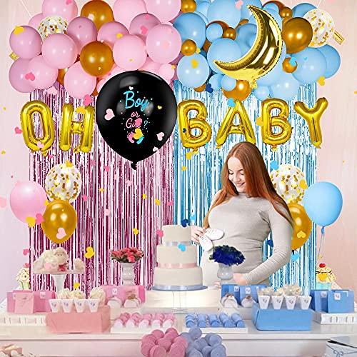 114PCS Gender Reveal Party Decoraciones de Bebé Revelación de Género para Niña Niñod con Rosa Azul Globo Guirnalda Confeti Cortina 36'' Boy or Girl Globo para Baby Shower Fiesta de Cumpleaños