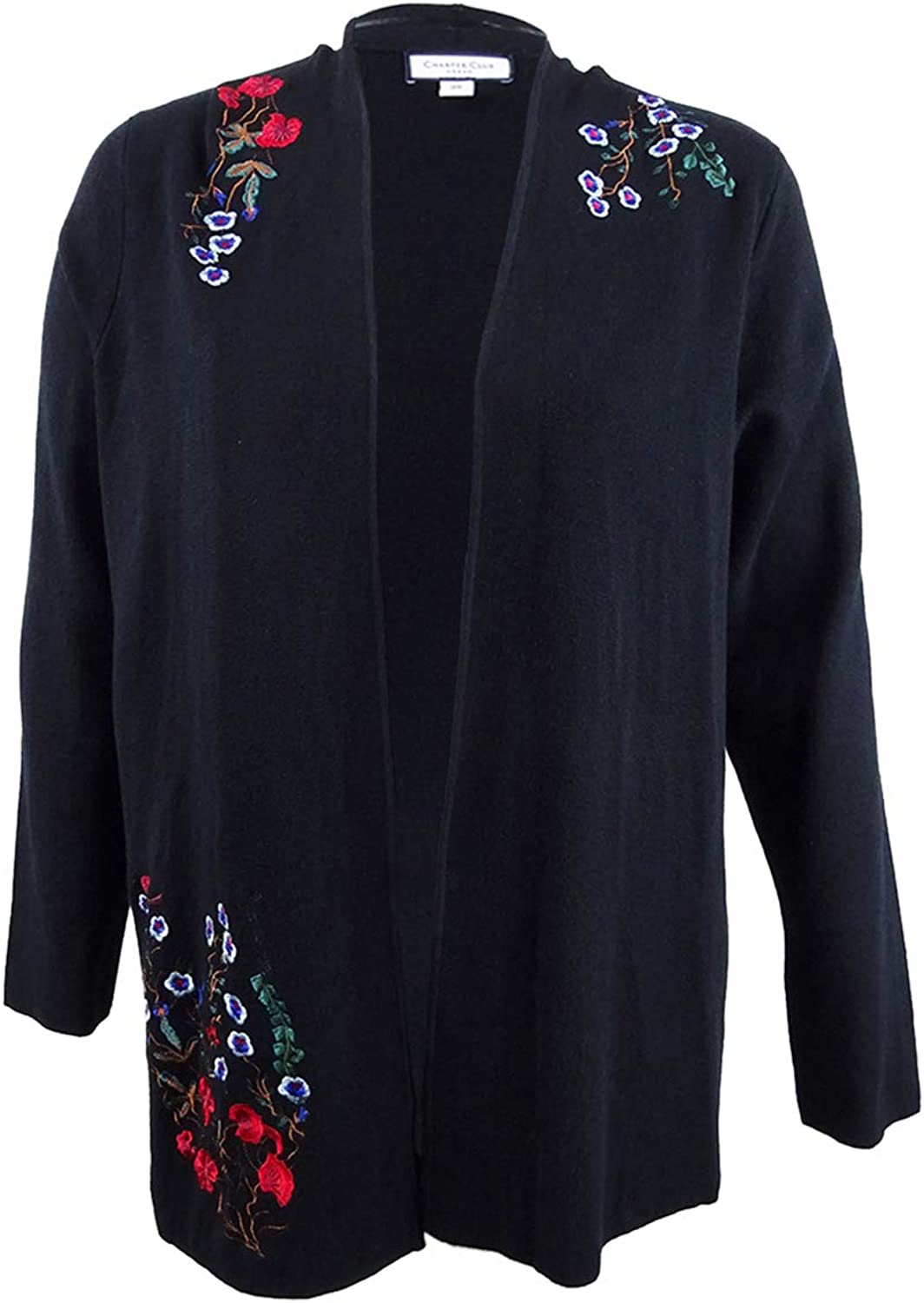 Charter Club Womens Plus Embroidered Open Front Cardigan Sweater