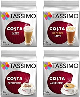 Tassimo 4 Packet Costa Coffee Mix Flavour (Latte, Caramel, Cappuccino, Americano) 64 T-Discs - 40 Servings