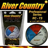 3' River Country (RC-T3) Easy Mount Adjustable BBQ, Grill, Smoker Thermometer (100 to 550 F)