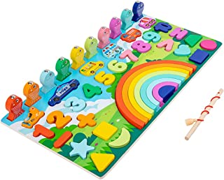 yotijar Wooden Number Puzzle Sorting Color Early Multifunctional Development 5-in-1 Sort Learning Stacker Montessori Toys ...