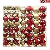 Valery Madelyn 60Pcs Bolas de Navidad Set, Adornos de Navidad para Arbol, Decoración de Bolas Navideños Inastillable Plástico de Rojo y Dorado, Regalos de Colgantes de Navidad