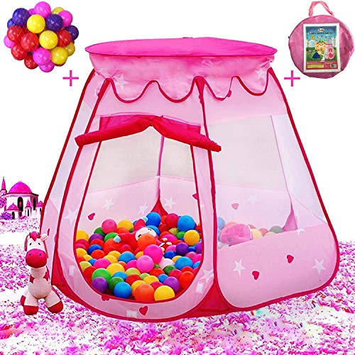 Playz Ball Pit Princess Castle Play Tent for Girls w/ 50 Balls Included - Pop Up Children Play Tent for Indoor & Outdoor Use - Playland Playhouse Tent w/ & Glow in The Dark Stars & Zipper Storage Case