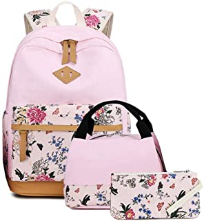 Goodking Lightweight Canvas Cute Bookbags for School Teen Girls Women Backpacks with Lunch Bag and Pencil Case