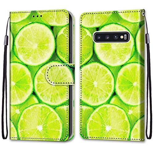 Nadoli Handyhülle Leder für Samsung Galaxy S10 Plus,Bunt Bemalt Erfrischend Limette Trageschlaufe Kartenfach Magnet Ständer Schutzhülle Brieftasche Ledertasche Tasche Etui
