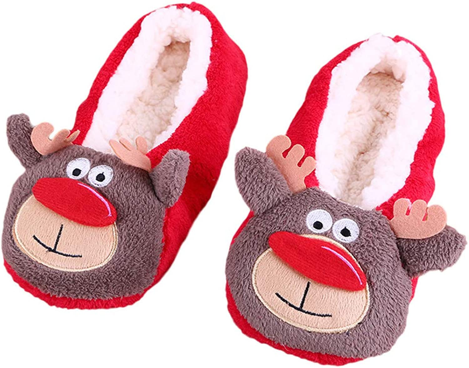 Winter Women Home Slippers Socks Cartoon Ladies Warm Indoor Soft Plush Christmas Non-Slip Bedroom shoes