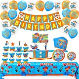 English Teacher Blippi Birthday Party Supplies Garbage Trucks Party Pack For Kids, Including Happy Birthday Banner, Balloons, Cupcake Toppers, Plates, Napkins, Table cloth, Tableware for Kids Party Decorations(Serves 20 Guests)