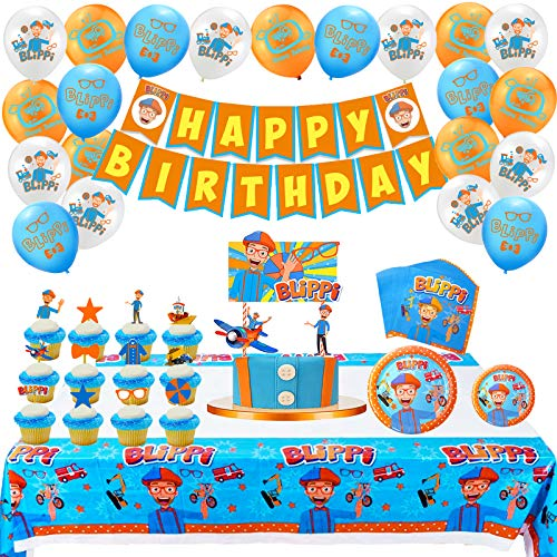 Find Discount English Teacher Blippi Birthday Party Supplies Garbage Trucks Party Pack For Kids, Inc...