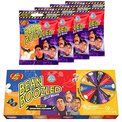 Jelly Belly Bean Boozled Set Glücksrad + vier 54g Tüten Jelly Beans