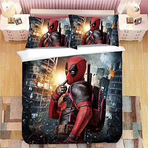 Nichiyo Deadpool Bettwäsche-Set 3-teilig mit 3D-Bettbezug – 3-teiliges Bettwäscheset (Bettbezug + 2 Kissenbezüge), dick und weich, 12, King 220x240cm