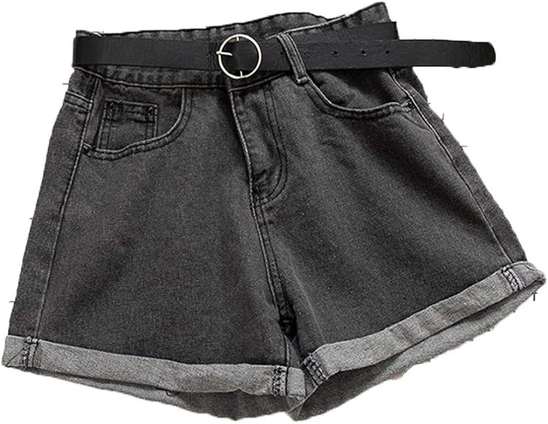 YHK Sashes Casual Women Denim Shorts Crimping High Waist Slim Summer Jeans Shorts