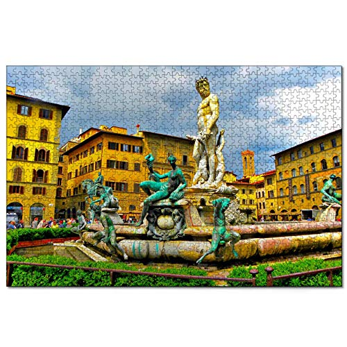 Italien Piazza Della Signoria Brunnen Florenz 1000 Teiliges Puzzle für Erwachsene und Familien Reise Geschenk Souvenir aus Holz 30x20 Zoll